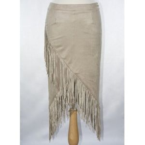 Dresses & Skirts - Asymmetrical fringe faux suede skirt